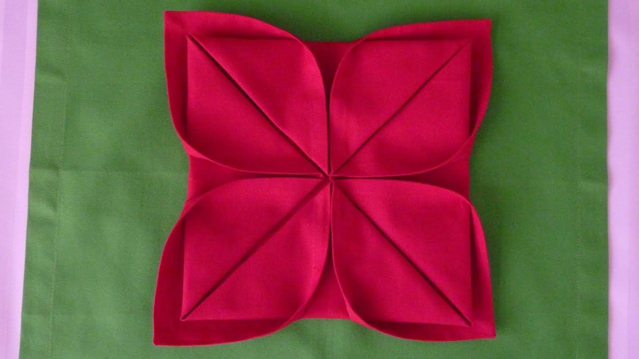 How To Make Table Napkin Designs animation napkin peeling banana folding tall Napkin Folding Lotus Youtube