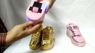 Обзор  светящихся кроссовок на роликах.