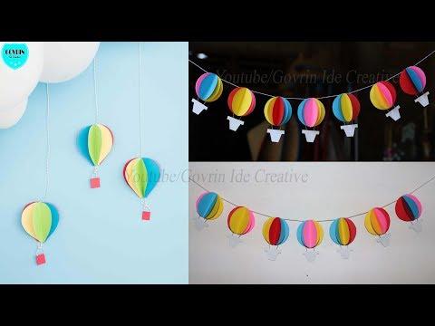 DIY Paper Hot Air Balloon Decor | Hiasan Dinding Balon Udara dari Kertas | Wall hanging