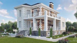 Проект дома в классическом стиле. Дом с эркером, террасой и балконом. Ремстройсервис KR-205