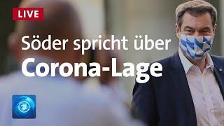 Bayerns ministerpräsident markus söder (csu) äußert sich auf einer pressekonferenz zur corona-lage. neben ihm nehmen an der runde auch präsident nati...