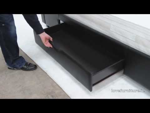 Dresden Leather Bed Storage
