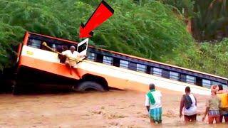 Bus & Truck Crossing Rivers and Extremely Dangerous Roads ! Amazing Crazy Driving Skills