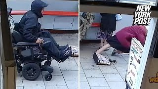 Man in a motorized wheelchair mows down two old women