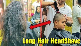 Girl Headshave in Saloon Shop / Beautiful Lady super Long Hair Headshave in Salon Shop