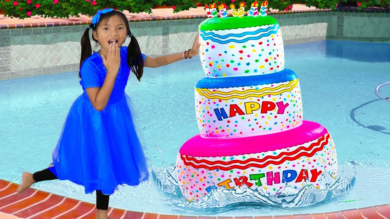Wendy Pretend Play w/ Giant Happy Birthday Cake Inflatable Swimming Pool Party Toy