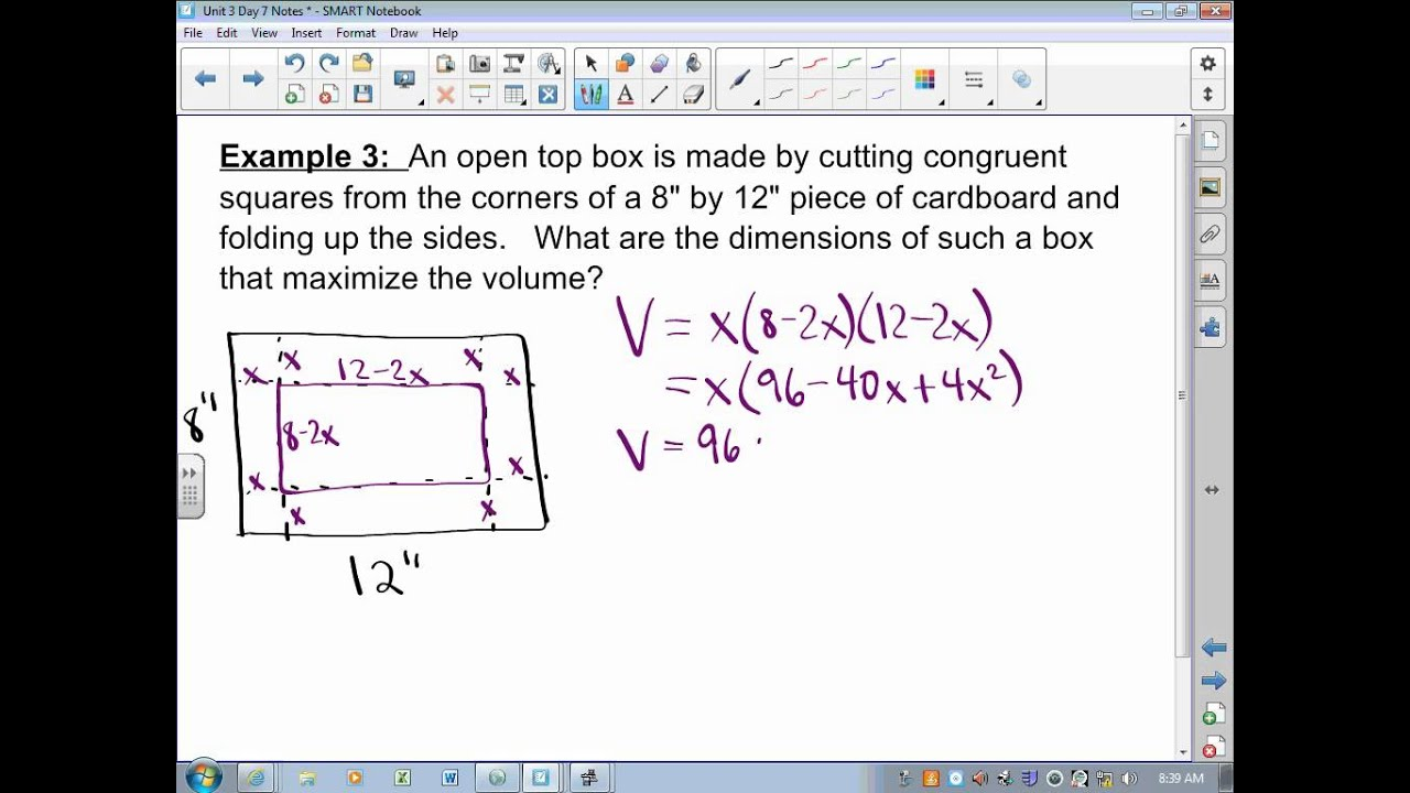 Solving optimization problems in calculus