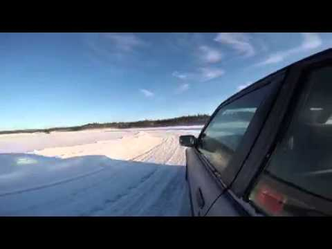Drifting on a frozen lake in Sweden.