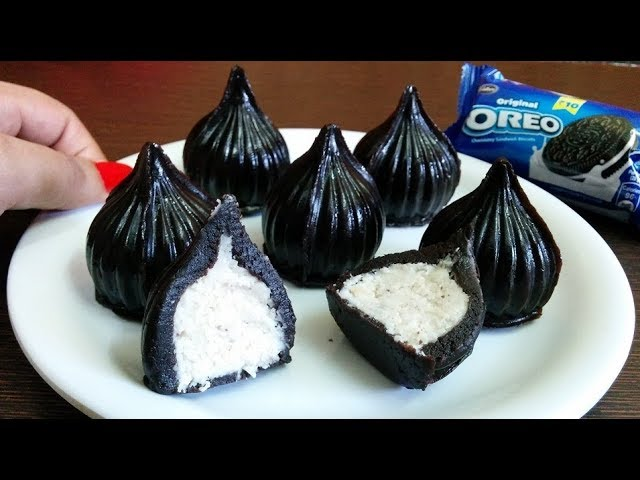 Unique oreo modak with oreo packet in the background
