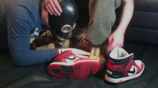 Sox and Sneakers Sniffing with Gasmask