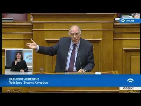 Β.Λεβέντης(Πρόεδρος Ένωσης Κεντρώων)(Δευτερολογία)(Ψήφος εμπιστοσύνης στην Κυβέρνηση)(16/01/2019)