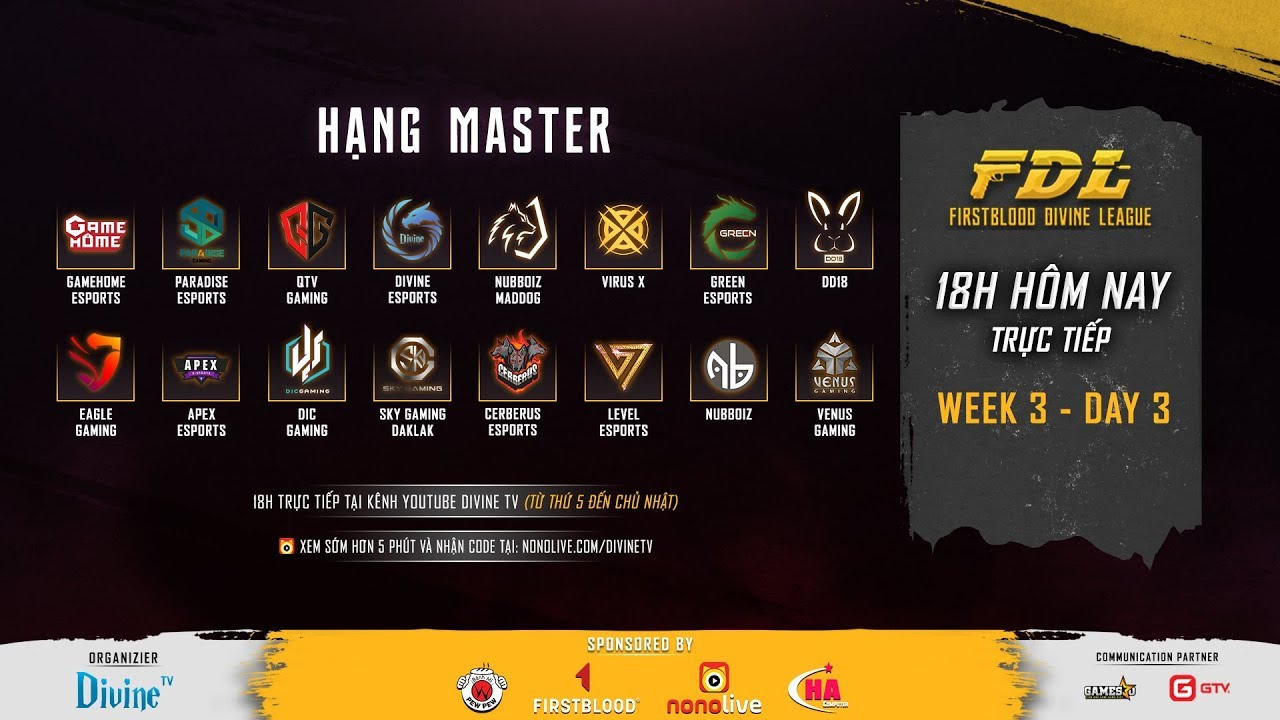 [FirstBlood Divine League] Hạng Master – Tuần 3 – Ngày 3