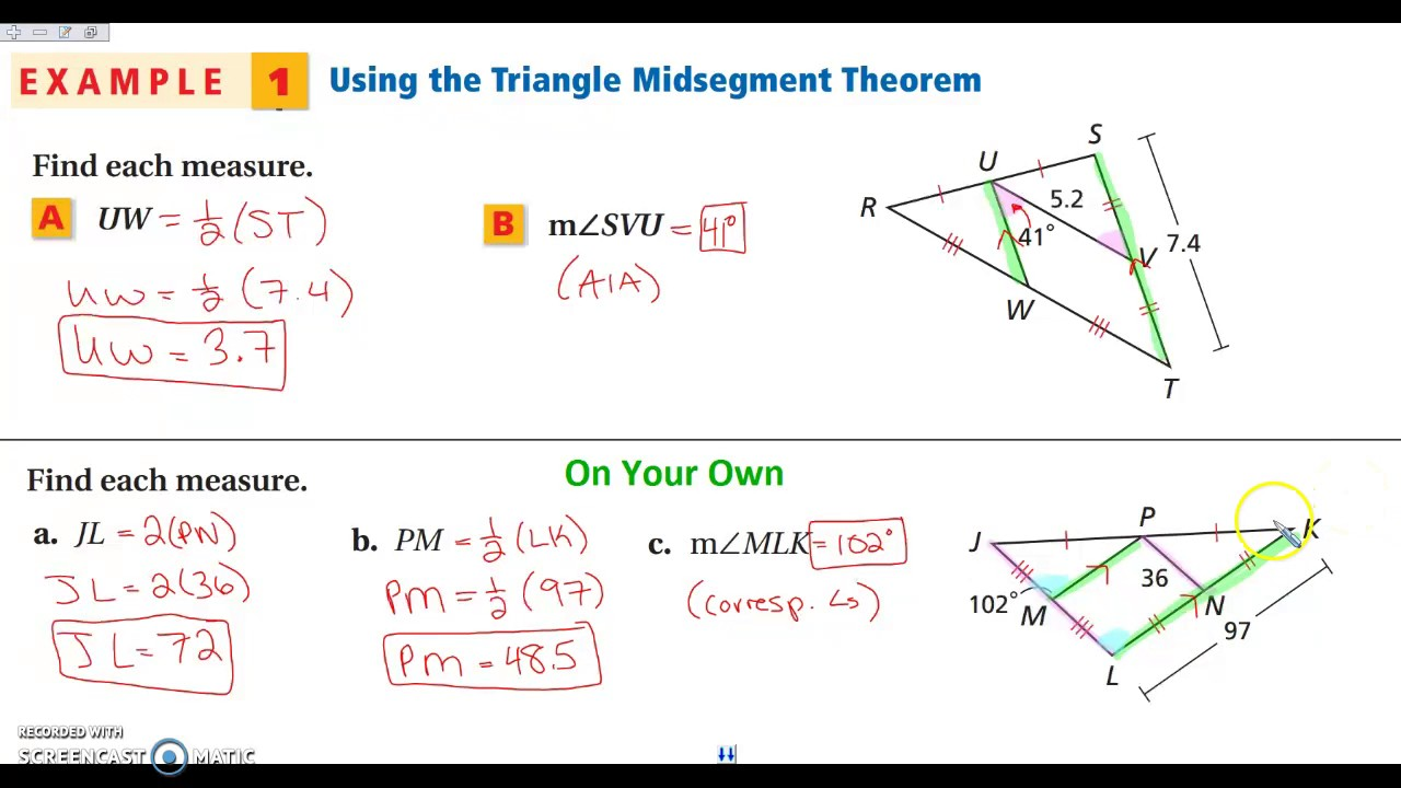 5 4 The Triangle Midsegment Theorem Youtube