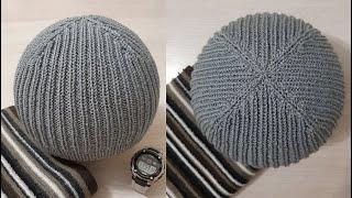 Мужская шапка спицами Универсальная модель шапки Шапка Оригами на весну и осень МК Альфиры Мериновой