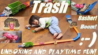 Diecast Toy Cars: Hot Wheels Trash Basher Playset Unboxing and Playtime with Marxlen