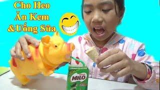 Cho Heo Ăn Kem Và Uống Sữa❤ Đồ Chơi Trẻ em Chú Heo Con❤Baby channel❤