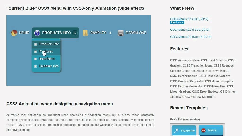 Css3 Animation Menu 100 Css Driven Designs Youtube