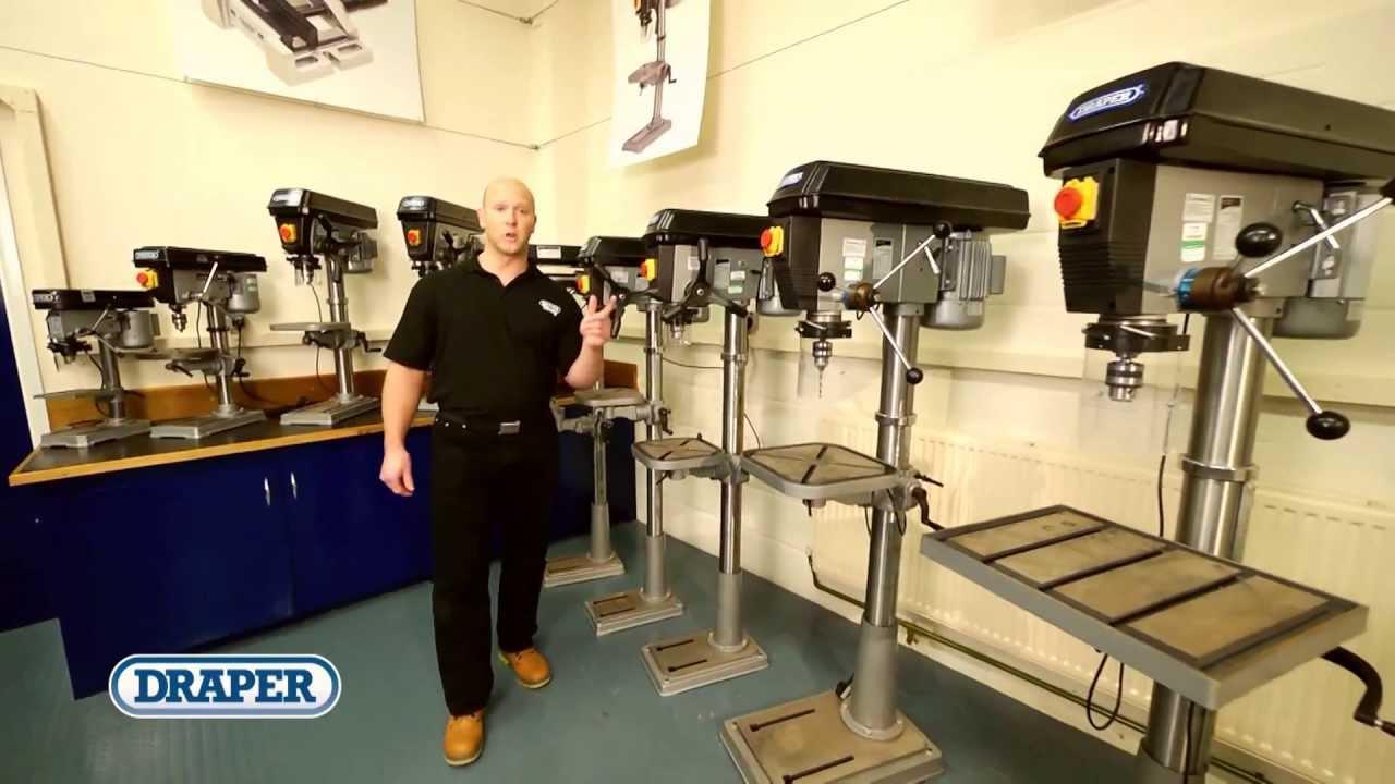 draper bench & floor standing pillar drill range - youtube