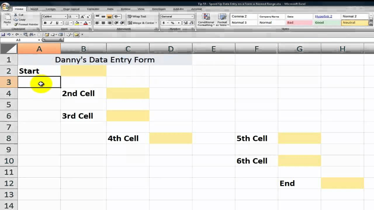 Speed Up Data Entry On Excel Forms By Using Named Ranges