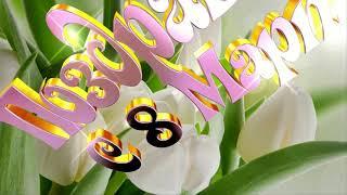 С 8 марта поздравляю.Красивый шрифт,футаж с фоном тюльпаны ,без фона,хромакей,анимация.March 8