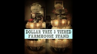 🍁🍂🐔DOLLAR TREE 3 TIERED FARMHOUSE STAND🍁🍂🐔