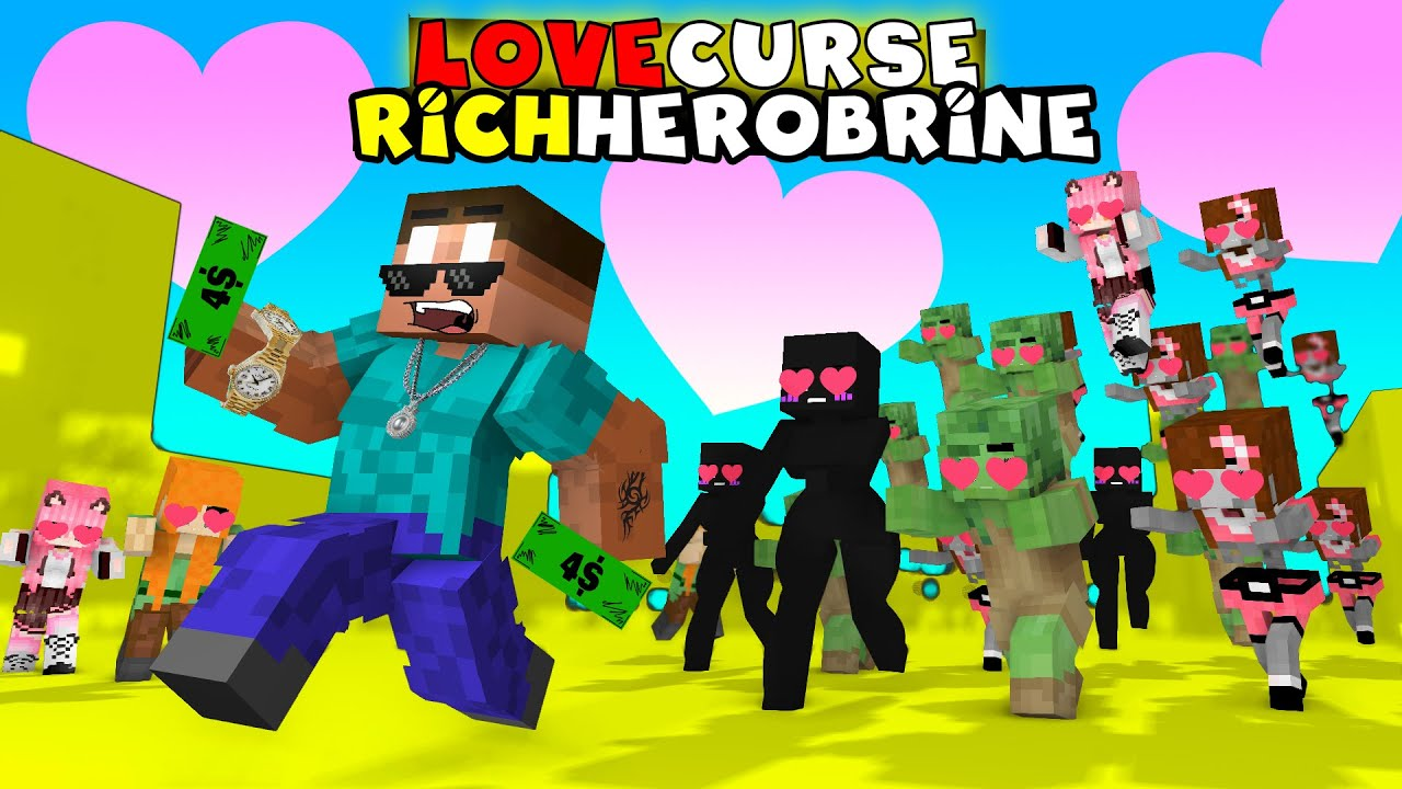 Monster School : LOVE CURSE Rich Herobrine -  Funny Minecraft Animation