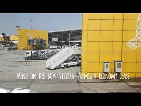 Vistara Premium economy Menu