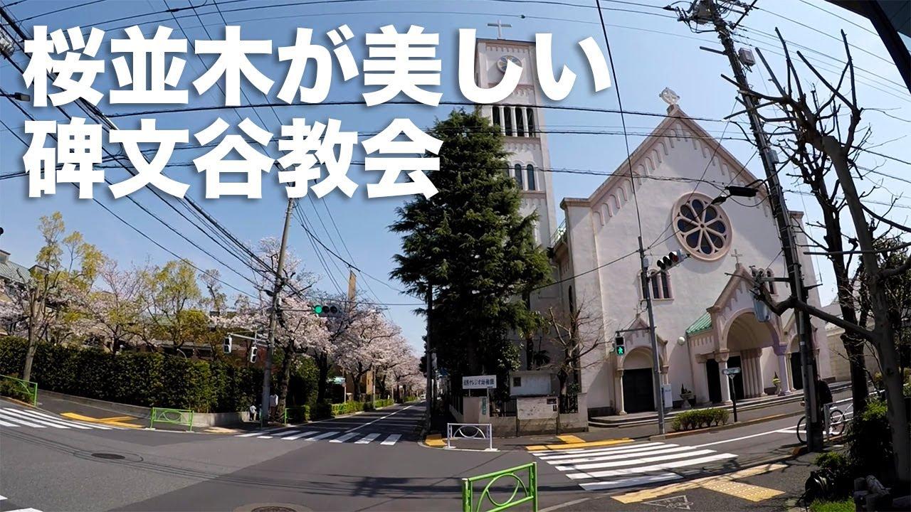 風に吹かれて街歩き 桜並木が美しい碑文谷教会(サレジオ教会)