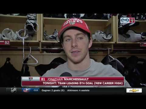 Jonathan Marchessault reacts to the Panthers OT win