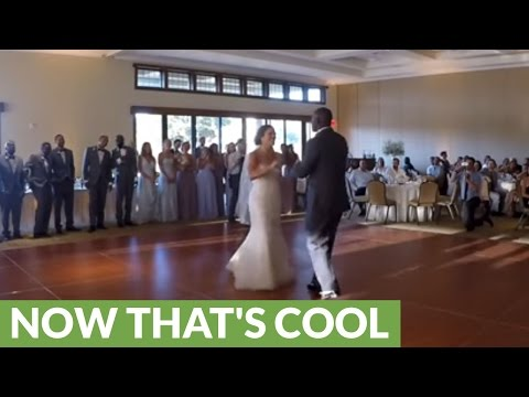 Bride and groom's surprise Disney mashup wedding dance