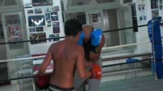 dad son boxing sparring
