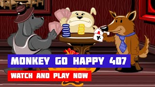 Monkey GO Happy: Stage 407 — Dogs Playing Poker & Corona Virus · Game · Walkthrough