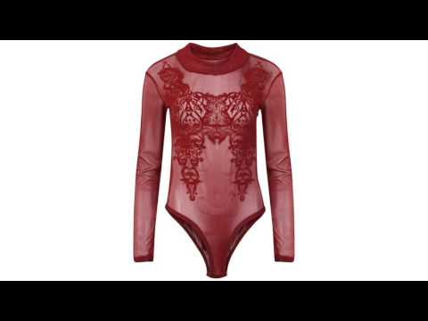 Womens Ladies Long Sleeve Turtle Neck Flock Lace Mesh Bodysuit Leotard Top 8-14 by Fashions Angel