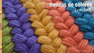 Trenzas puff de colores tejidas a crochet