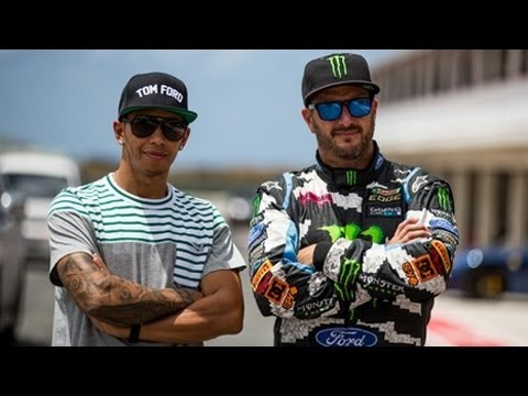 Ken Block vs Lewis Hamilton | Formula 1 Vs Rallycross | Top Gear Live Barbados