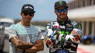 Ken Block vs Lewis Hamilton - Formula 1 Vs Rallycross - Top Gear Live Barbados