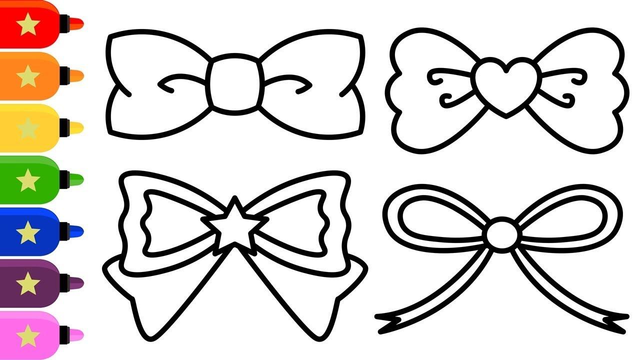 Ribbons Drawing and Colouring with Glitters for Kids / Cara Menggambar dan  Mewarnai Pita Rambut