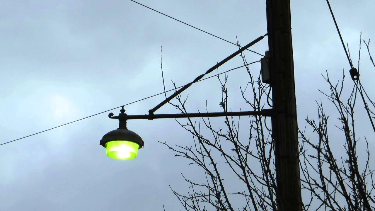 vintage street light turning on raw footage hd youtube