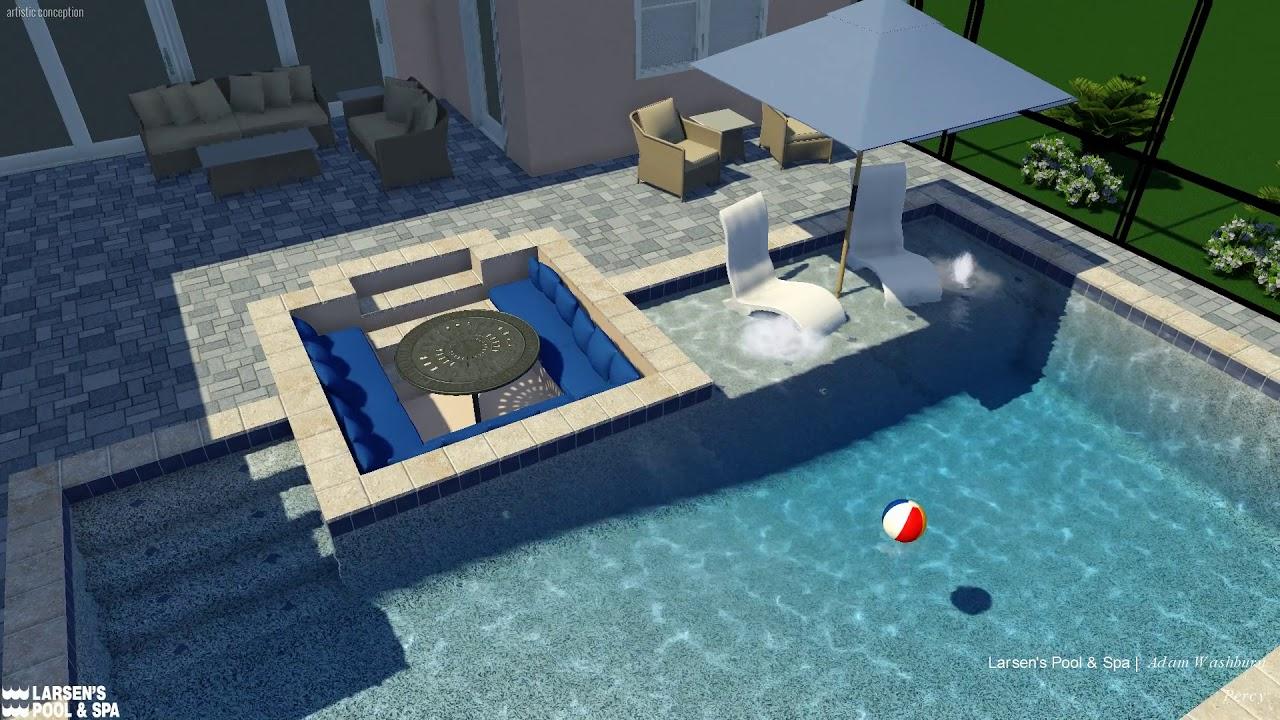Larsens Pool Spa New Swimming Pool Construction Paver Deck Sunshelf Sunken Seating Odessa Starkey Ra Youtube