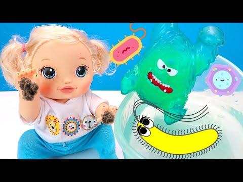 Люся Не верит в Бактерии и Вирусы! Как Мама Учила Куклу Мыть Руки Мультик 108мама тв