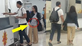 ELLEN ADARNA SPOTTED BABY BUMP with JOHN LLOYD CRUZ at the Airport
