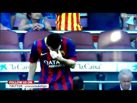 Messi being sick on the pitch !!