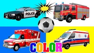 Colors for Children to Learn with Street Vehicles Cars & Fire Trucks - Colours for Kids to Learn