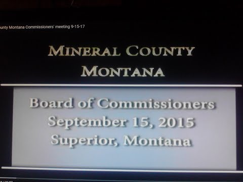 Mineral County Montana Commissioners' meeting 9-15-17