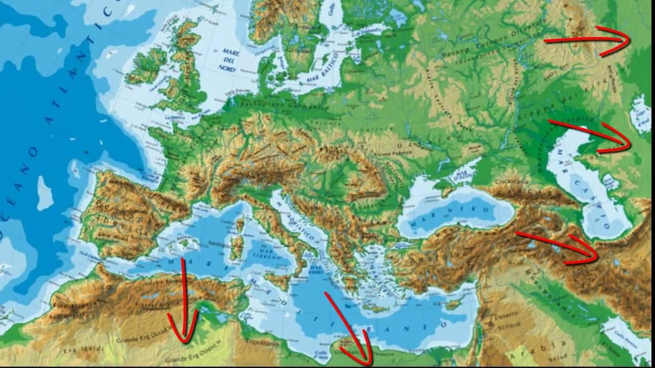 Cartina Fisica Dell Europa Da Colorare.L Europa Fisica Parte 1