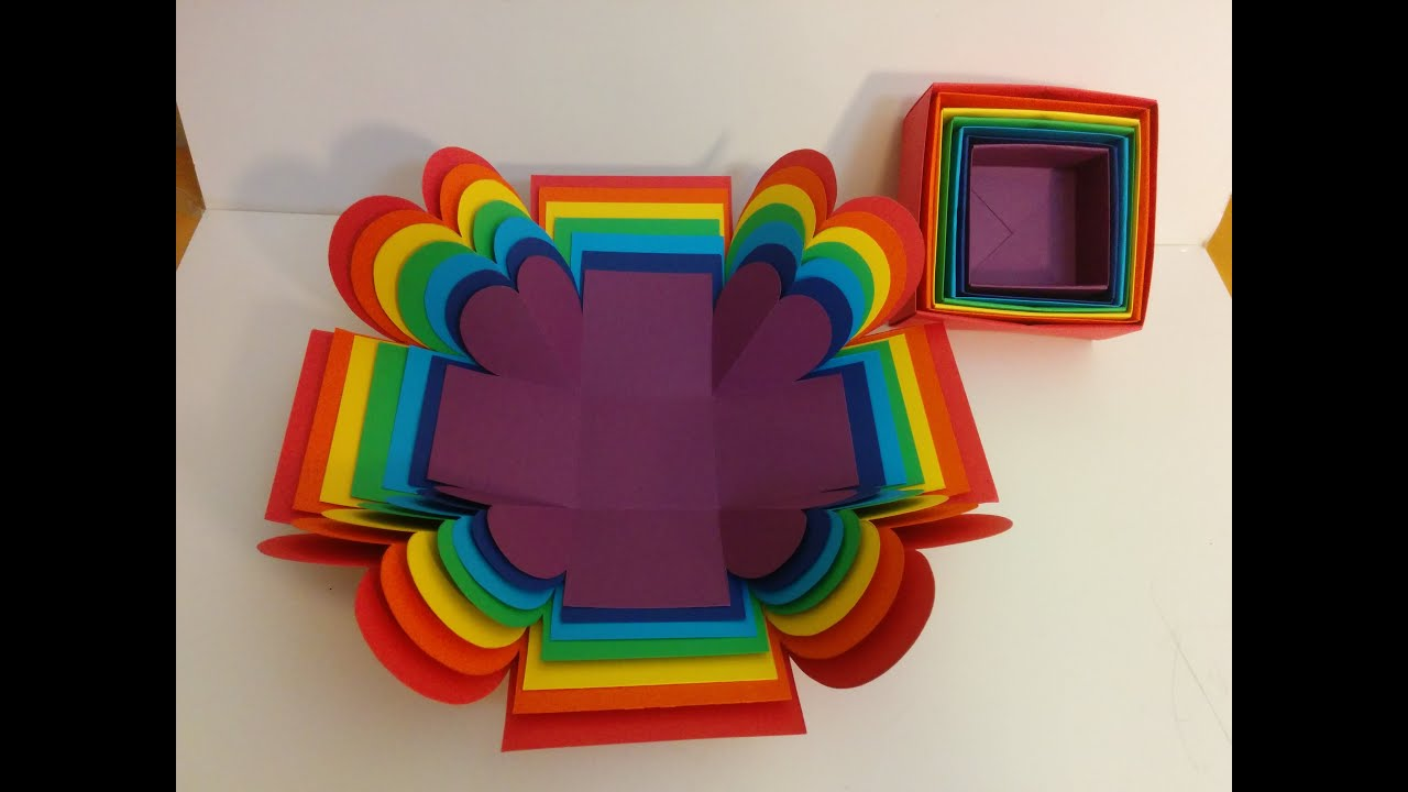 art and craft designs and ideas and craft how to make explosion box rainbow 7386
