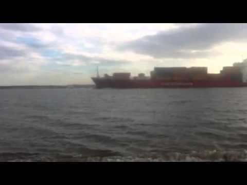 Containerships VIII leaving teesport