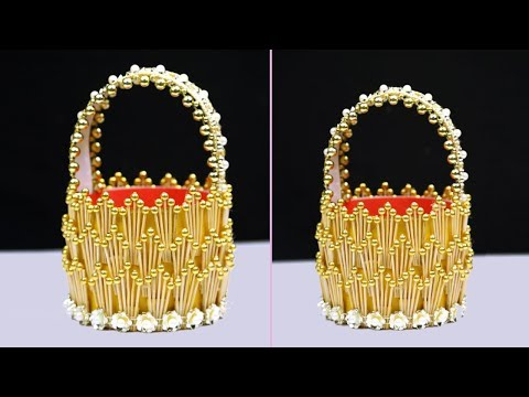 DIY Toothpick Basket | How to Make a Basket with Toothpicks for Home Decoration