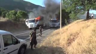 PKK'lı Teröristlerin Araçları Yakma Anı Kamerada !