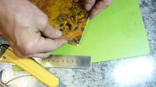 7.Обрезаем кожу по форме нашего кошелька после покраски. Leathercraft